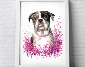 Custom Pet Portrait colourful painting made with watercolours and pastels personalised illustration