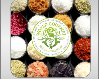 The WORLD TIN Gourmet Sea Salt Sampler 16 All Natural Salts from around the world.