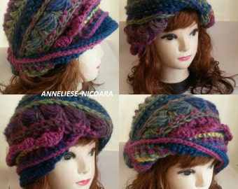 Freeform Crochet Hat/Bohemian Versatile Crochet Winter Hat/Hyperbolic Ruffle/Unique design Hat