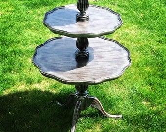 SOLD   Antique Three Tier Mahogany Pie Crust Table