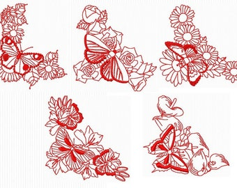 "10 Redwork embroidery designs on the theme of ""butterflies and flowers"" for embroidery machine"