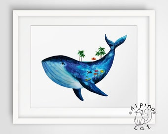 Blue whale art print, UNFRAMED, tropical poster, vacations, whale lover, underwater world, whale illustration, whale poster, nursery decor