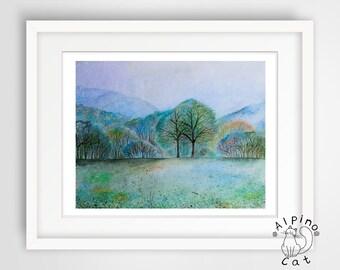 Landscape art print, UNFRAMED, rainy landscape, foggy forest, magic forest, romantic landscape, original art, watercolour art