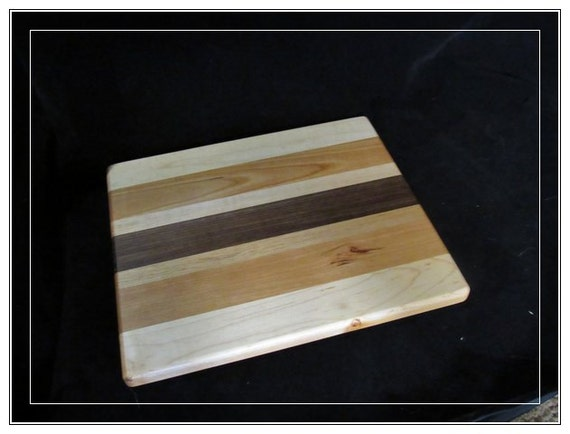 wood cutting board nice size 20%off bread board or cheese board maple ash and walnut cutting board very nicely sanded and waiting for a home