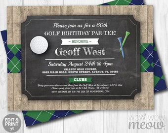 Golf Birthday PAR-TEE Invites Wood Argyle Green Blue Invitations INSTANT Download Any Age Mens Golfing Tee Ball Sports Editable Printable