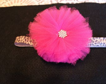 Pink Tulle Flower Headband with Rhinestone center- Infant/baby/toddler