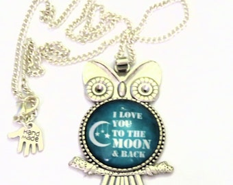 Love you to the moon and back charm necklace-love you necklace-moon charm owl bird nature