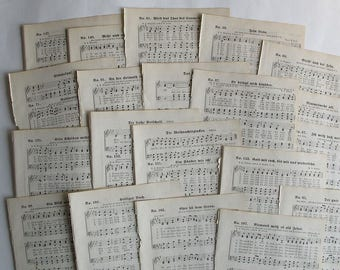 1895 antique German hymnal sheet music for paper crafting, junk journals and collage
