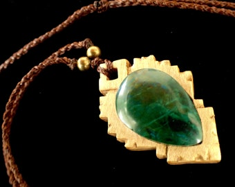 Peruvian Turquoise with Brazilian Oak and Mahogany Wood Pendant, with Bronze Beads and Adjustable Macrame Cord