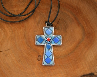 Mosaic Cross Pendant- Wearable Art