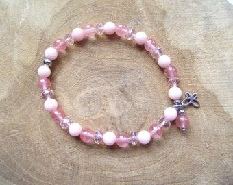Bracelet jade Cherryquarz cut glass Butterfly stainless steel pink rose