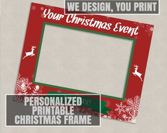 Printable Customised Christmas photo booth frame, Digital Download, giant xmas prop selfie, holiday photobooth, printables company party