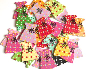 10 or 20 qty Roseys Craft Shops Dress Wooden Buttons Craft Scrapbooking Cardmaking Embellishments