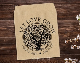 Seed Packets, Let Love Grow Favor, Personalized Seed Packet, Vintage Wedding Favor, Kraft Seed Envelope, Seed Favor, Rustic Wedding x 25