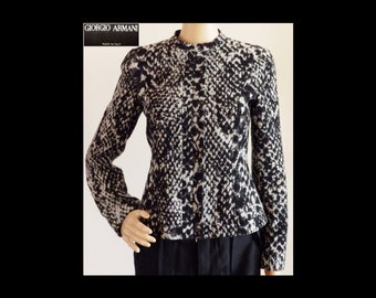 New GIORGIO ARMANI Black Label SNAKE/Python Print Wool Motorcycle Cafe Racer Jacket~Borgo 21 Italy~Black & White~Silk Lining~Size 38/4~Mint!