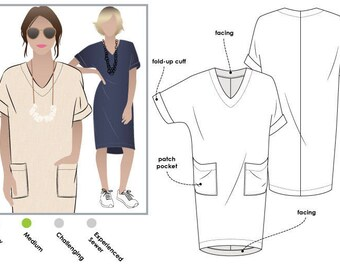 PRINTSHOP PATTERN (not tiled) - Adeline Dress - Sizes 14, 16 and 18 - Women's Pull On Dress - Style Arc PDF Sewing Pattern