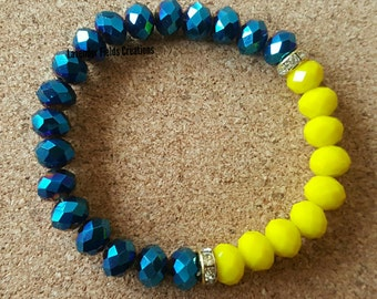 Bright Yellow and Blue Faceted Glass Stretch Bracelet with Rhinestones  (2017101B)