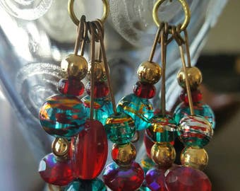 Boho Red, Blue, and Gold Chandelier Earrings  (201733E)