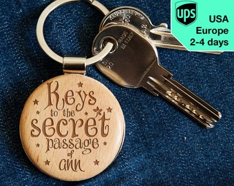 Secret Passage - key chain, personalized laser engraved wooden key chain
