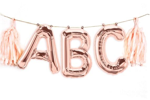 """16"""" Custom Rose Gold Balloon Banner, Wedding Photo Prop, Giant Balloon, Balloon Prop, Letter Balloon, Balloon Tassel Kit, Rose Gold Glitter"""