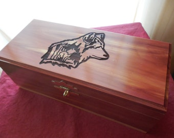 Wolf Engraved Cedar Box