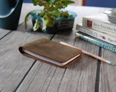 Leather notebook cover with or without Pen Holder in Brown Pull-up for 3x5 spiral top notebooks, Rite in the Rain, Police Field Interview