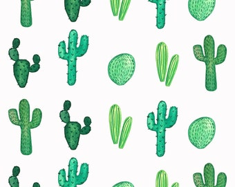 Gift Wrapping Paper- White Cacti