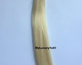 20 Single Strands 18 inches Bleach Blonde U tip Fusion Nail Remy Human Hair Extension Streaks Highlights Straight 10g