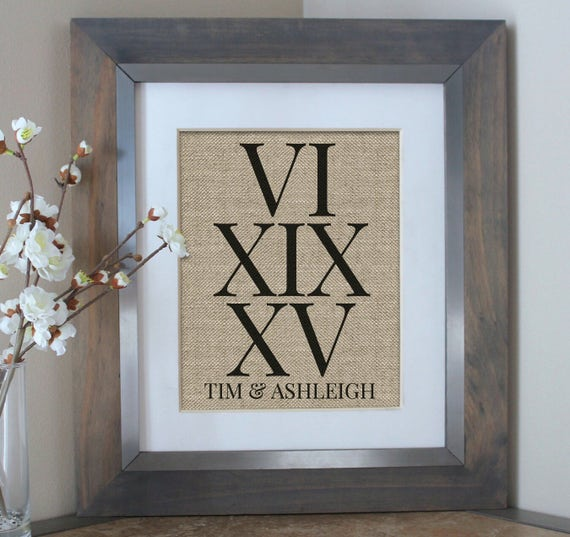 Wall Art With Wedding Date : Roman numerals anniversary gift burlap wedding date sign