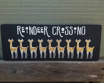 Reindeer crossing, Christmas sign, glitter, holiday decor, home decor