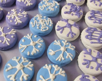 Snowflake Frozen dipped sandwhich chocolate covered cookies