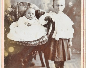 Cabinet Card Photo  Baby & Little Boy in Dress - Dadeville MO - Also Stamped Ponca City OT