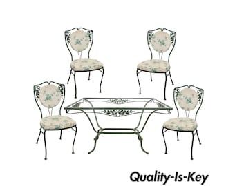 Vintage Salterini Wrought Iron Patio Dining Set Table 4 Chairs Garden Furniture