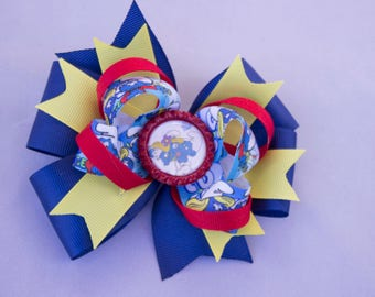 Smurfette hair bow,  Princess hair bow, Smurf  hair bow, girl hair bow,  princess hair bow, Smurfette  birthday hair bow