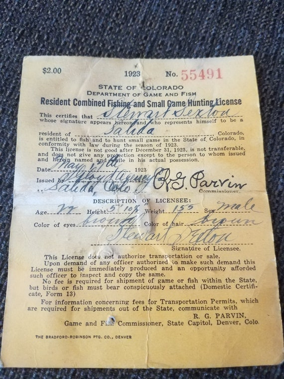 Vintage colorado hunting fishing license 1923 free shipping for Colorado fishing laws