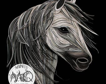 "Quilled Paper Art Print | ""Stallion"" Original Quilled Paper Artwork"