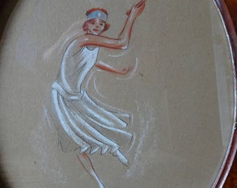 Framed and signed Art Deco pencil drawing. 'Lady playing Tennis'. G Cazenove. 1927. Art Deco