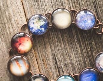 Planet Bracelet, Solar System Bracelet, Space Jewelry, Milky Way Bracelet, Galaxy Jewelry, Planet Jewelry