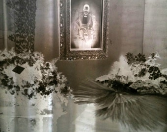 RARE Antique glass negative of a casket in a parlor funeral