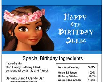 Moana birthday Candy Bar Wrapper