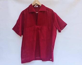 Men's Rockabilly fishnet shirt / Men's 60s Fishnet Shirt / Swing Shirt Burgundy / 60s Rockabilly Men's Shirt / Men's Shirt Dancer / Shirt XL