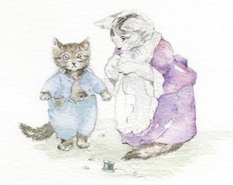 my handpainted watercolour of... Beatrix Potter's Tabitha Twitchit dressing Tom Kitten (framed)
