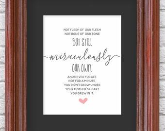 Adoption Wall Art - Printable Gift - Adoption Poem Print for Nursery / Bedroom - PDF Instant Download Digital File - 8x10 5x7 4x6