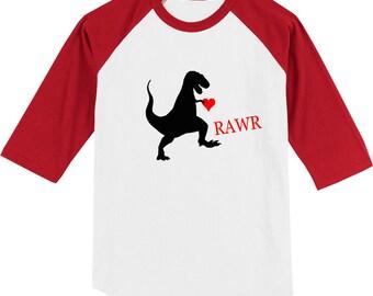 Kids Valentine's Day Shirt Dinosaur Rawr Valentines Day Children Shirts