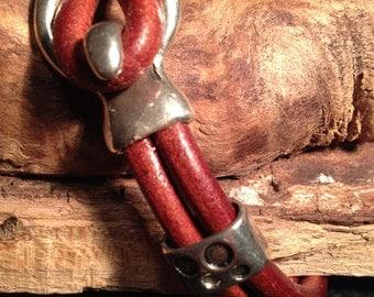 Rust colored leather cuff bracelet
