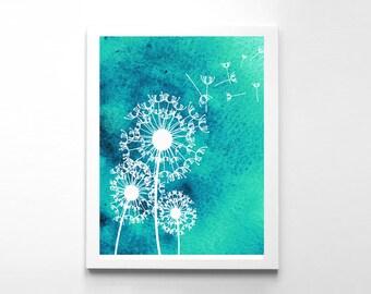 Dandelion Art Poster Turcuoise Watercolour Art  Home Decor Dandelion art Print Wall Decor Instant Download Home & Living Housewares
