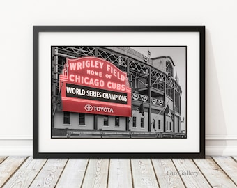 "Chicago Cubs World Series - FRAME: 14x18 18x18 18x24"", Chicago Cubs, Wrigley Field Marquee, MLB, Cubbies, Man Cave, Baseball Art"
