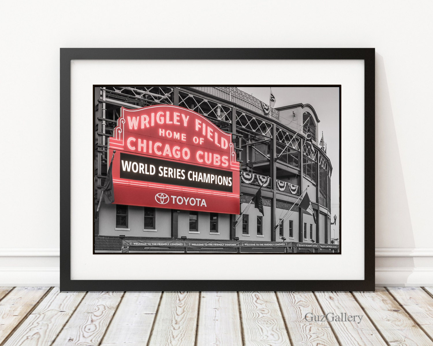 chicago cubs world series frame 14x18 18x18 18x24 19x25 chicago cubs wrigley field marquee mlb cubbies man cave baseball art