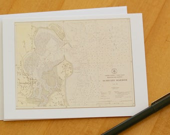 "Scituate Harbor Map Note Cards (1925) 4.25""x5.5"""