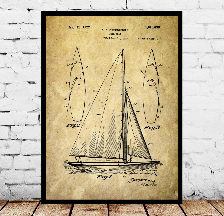 Sailboat Print, Sailboat Poster, Sailboat Patent, Sailboat Decor ...